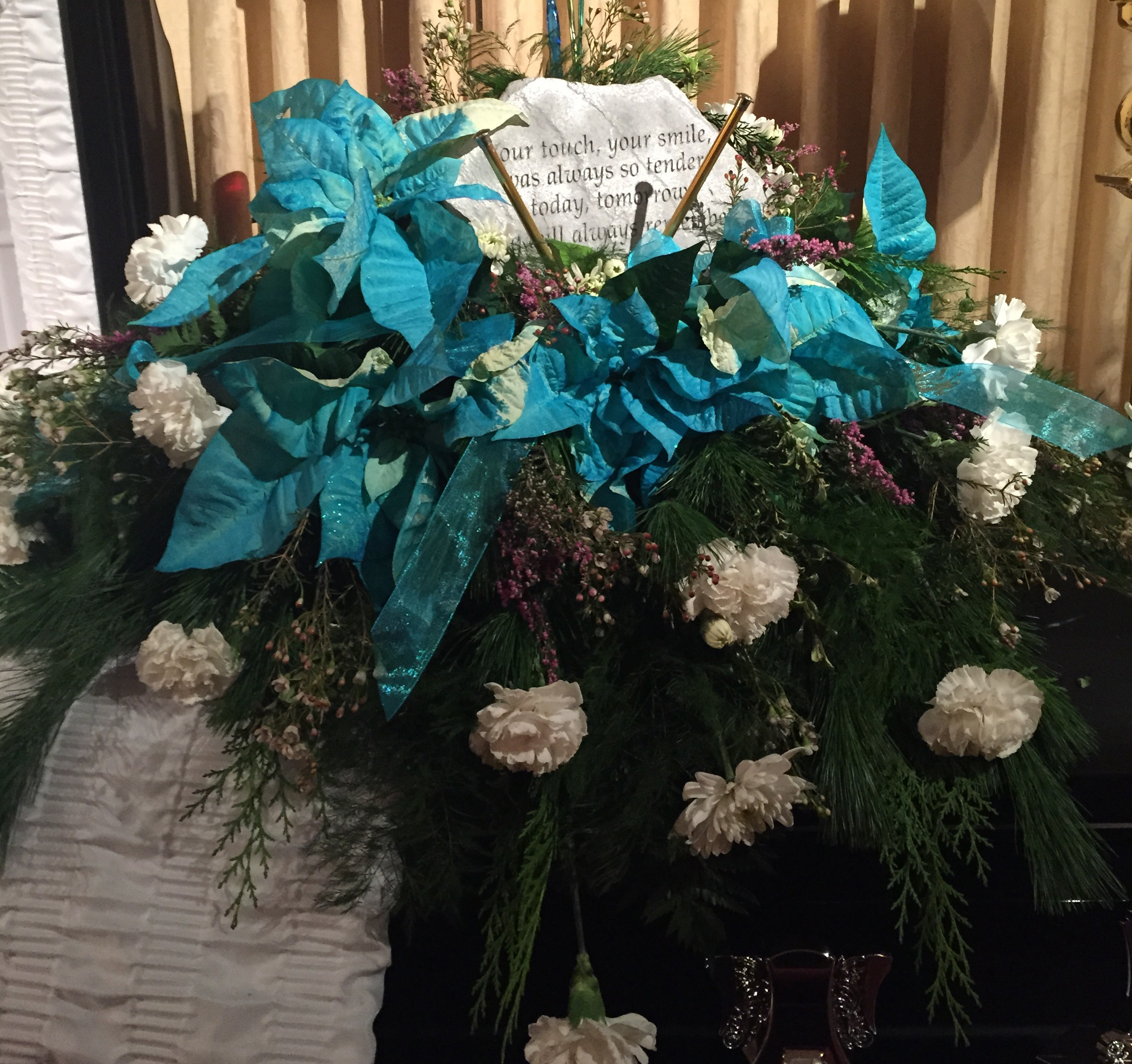 Turquoise Poinsettia Spray